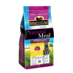 Сухой корм Meglium длястерилизованных кошек скурицей ирыбой