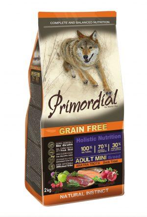 Сухой корм Primordial длясобак мелких пород сфорелью иуткой